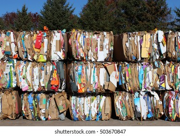 RIVER FALLS,WISCONSIN-OCTOBER 24,2016: Several bales of cardboard waiting to be recycled.