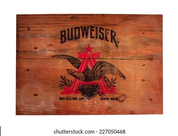 RIVER FALLS,WISCONSIN-OCTOBER 30,2014: Vintage wooden cover for a Budweiser beer case. Budweiser beer was introduced in Eighteen Seventy Six.