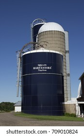 RIVER FALLS,WISCONSIN-SEPTEMBER 04,2017: A Harvestore grain silo on a Wisconsin dairy farm.