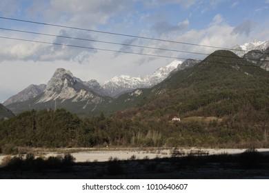 River Fella in the Territory of Dogna, near the railway bridge. Alpe Adria, Friuli Venezia Giulia, Italy.