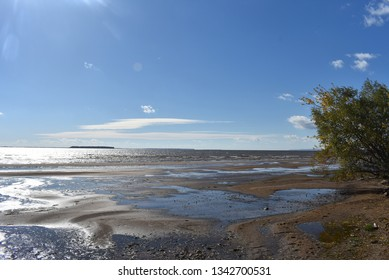 The river flats. Sand spit. Summer landscape in the distance you can see the island, the tree and the sand shining in the sun.River sandbank.