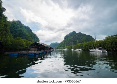 River and floating fishing village in Kilim Karst Geoforest Park at the start of our mangrove tour on Langkawi
