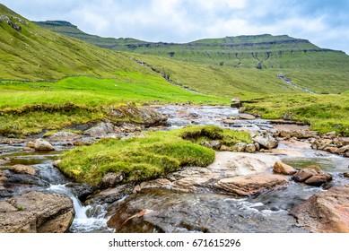 River flow through the rocks, scandinavia