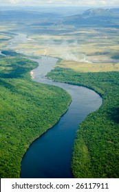 River flowing to the horizon in Venezuela.