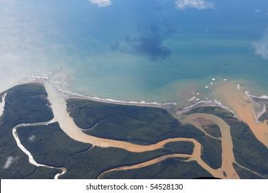 river flowing into sea