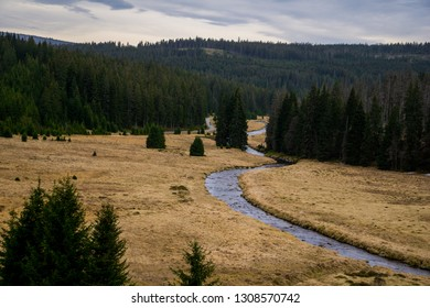River flowing through the hills of Sumava National Park
