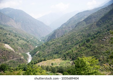 River flowing in the wilderness, Nepal, Annapurna Circuit