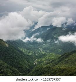 River flows along a deep valley in the Khasi Hills near Shillong, Meghalaya, India.