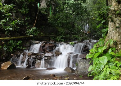 The river flows in the middle of the forest which is quite swift to form a small waterfall. in Trawas, East Java, Indonesia - Shutterstock ID 2020994744