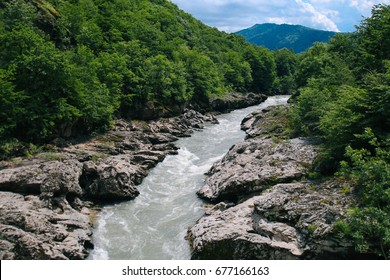 The river flows in the mountains of the Republic of Adygea