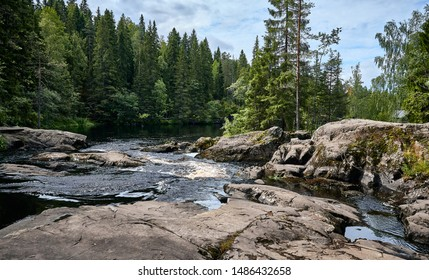 River flows over rocks through the woods. Nothern summer landscape. Karelia, Sortavala