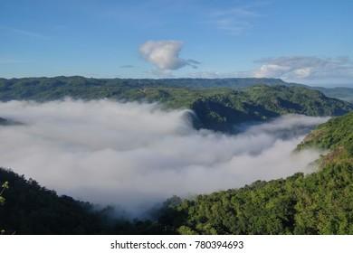 River of fog at Mangunan, Dlingo, Bantul, Yogyakarta (Sungai Kabut di Lembah Mangunan, Bantul)