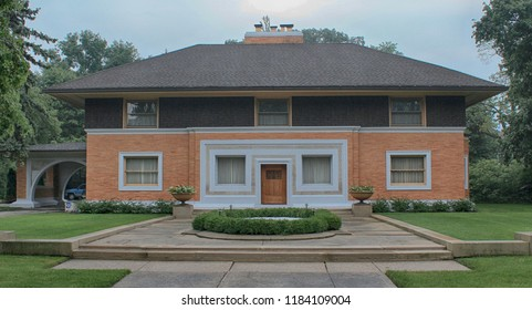 River Forest, Illinois - 08/29/2015: William Winslow Residence. Built 1894. Architect Frank Lloyd Wright.