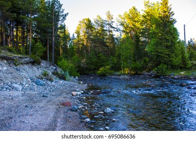 River in the forest (Kola Peninsula, North of Russia)