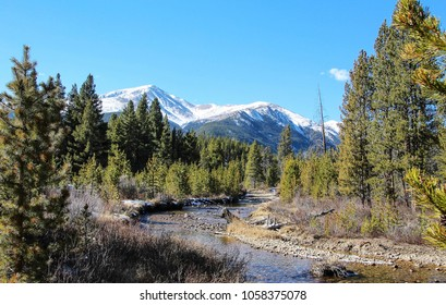 River in forest and mountain, Colorado, USA