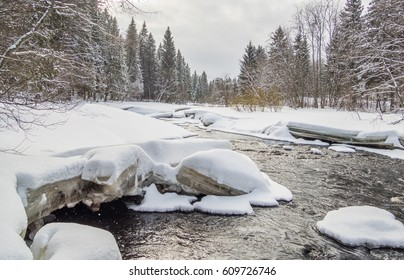 River in the forest. winter