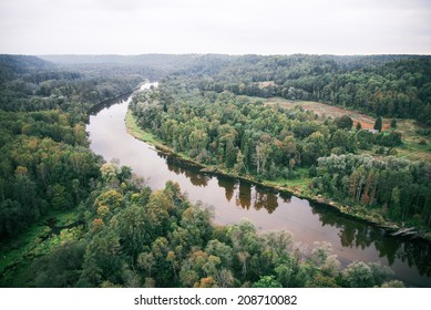river and forests from above
