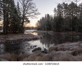 River in a frosty morning. Farnebofjarden national park in Sweden.