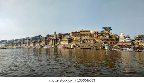 River Ganges, Varanasi, Uttar Pradesh, India; 30-Jan-2019; a panoramic view of the Varanasi riverfront, Varanasi ghats