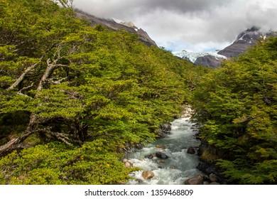 River and glacier Los Perros, Torres Del Paine National Park, Patagonia, Chile