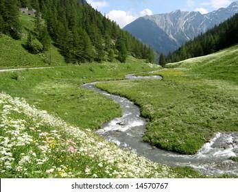 River in Grand Saint Bernard, Italy