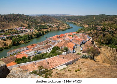 The river Guadiana and the historic town of Mertola in Alentejo, Portugal