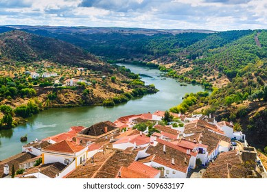 The river Guadiana and the village of Mertola. Alentejo Region. Portugal