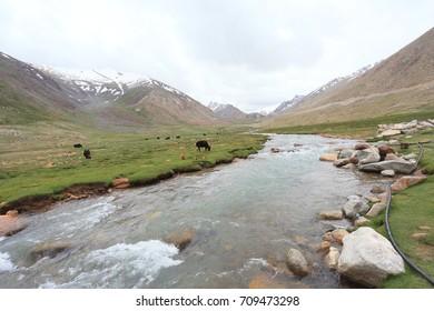 River and himalaya mountain,Jummu, North India