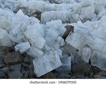 River ice chunks on the shore