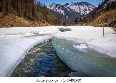 river with ice in spring in the mountains