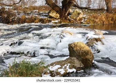 River ice. river in winter. winter creek.