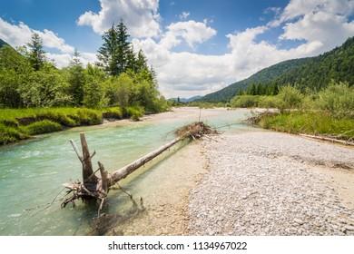 The river Isar near Wallgau in the Alps of Bavaria