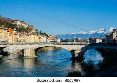 River Isere and bridge in Grenoble, France.