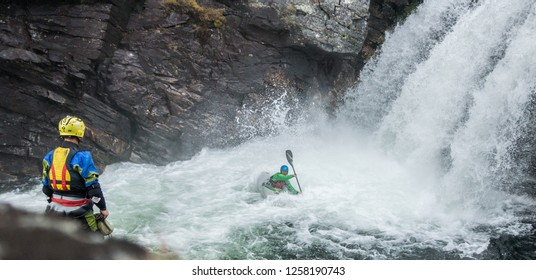 River kayaker in the river Ula in Rondane national park in Norway. 12.07.2015. Extreme sports, sports, water sports, adrenaline, river kayaker, kayak, kayaker concepts,