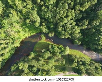 River kayaking aerial photo in summertime - River kayaks aerial view - Green scenery kayaks drone photo