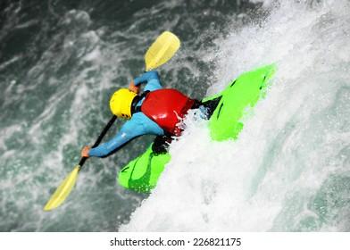 River Kayaking, extreme waterfall