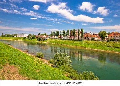 River Kupa in town of Karlovac green nature view, central Croatia