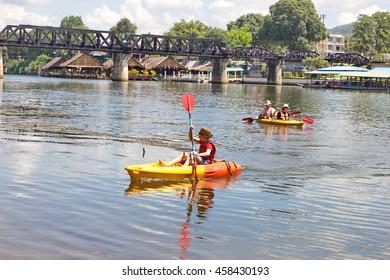RIVER KWAI KANCHANABURI 25 JULY 2016 :Tourists are canoeing on the River Kwai Thailand