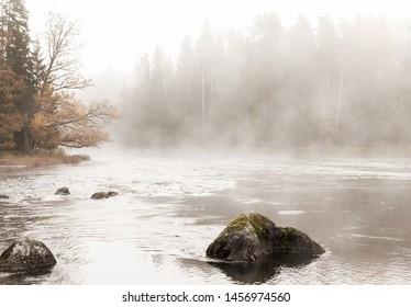 River landscape in autumn. Farnebofjarden national park in Sweden.