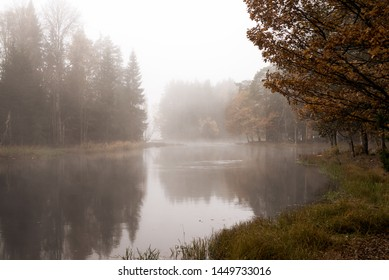 River landscape before sunrise in autumn