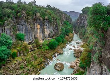 River landscape from Koprulu Canyon. Manavgat, Antalya, Turkey.