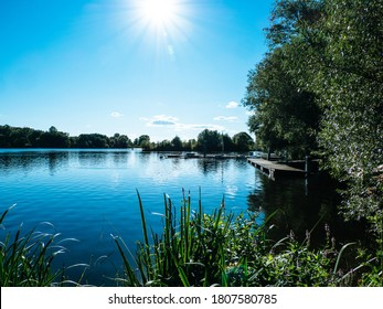 River Landscape on a sunny summer day, Dove Elbe in Hamburg, Germany
