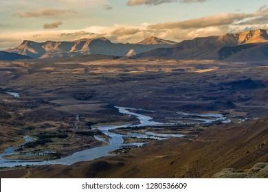 River landscape. Torres del Paine National Park. Chile. South America. UNESCO biosphere.