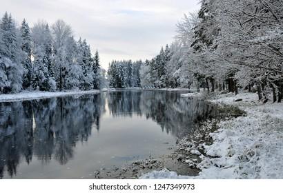 River landscape in winter. Farnebofjarden national park in Sweden