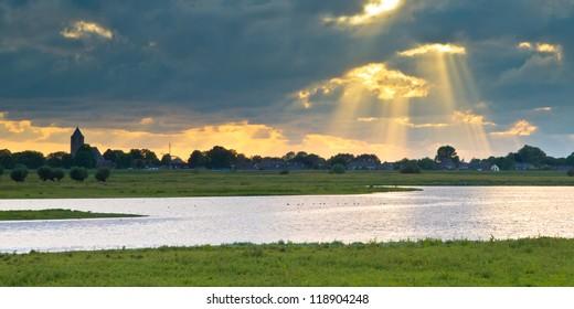 River landscape of Zalk in the Netherlands near Zwolle
