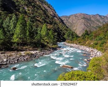 river from Langtang trek in nepal