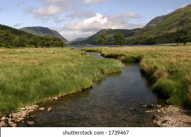 River leading in to Buttermere in the Lake District Cumbria
