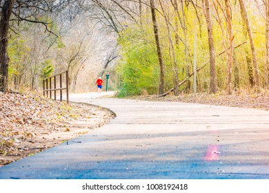 River Legacy Parks in winter, people are walking, located in Arlington, Texas, USA.