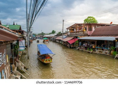 River life at Amphawa Floating Market, Thailand / Sunday, July 29, 2016