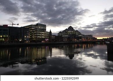 River Liffey at Dublin City Center at night,Ireland.